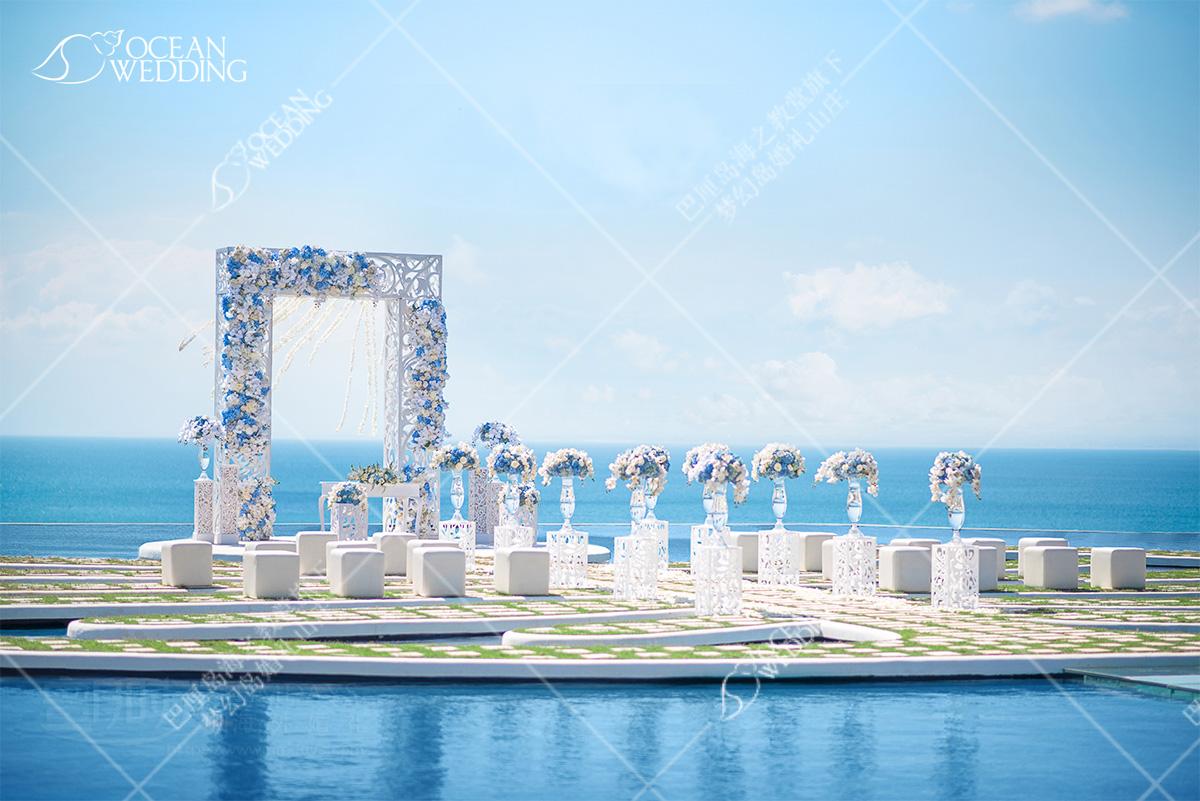 巴厘岛梦幻岛婚礼免费蓝白布置 巴厘岛 梦幻岛 免费布置 蓝白