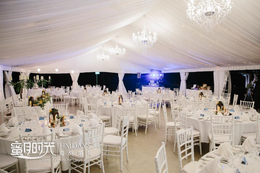 暮色下的婚礼晚宴区 澳洲庄园婚礼晚宴