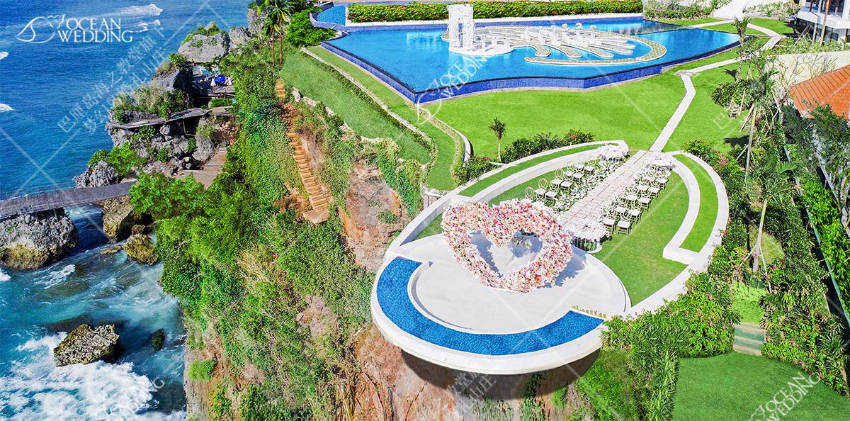 梦幻平台婚礼_远处是梦幻岛_椅背纱会默认提供白色 巴厘岛梦幻山庄
