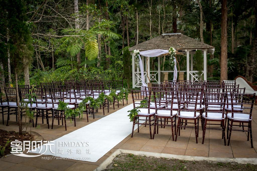 凉亭婚礼全景 澳洲庄园森林婚礼