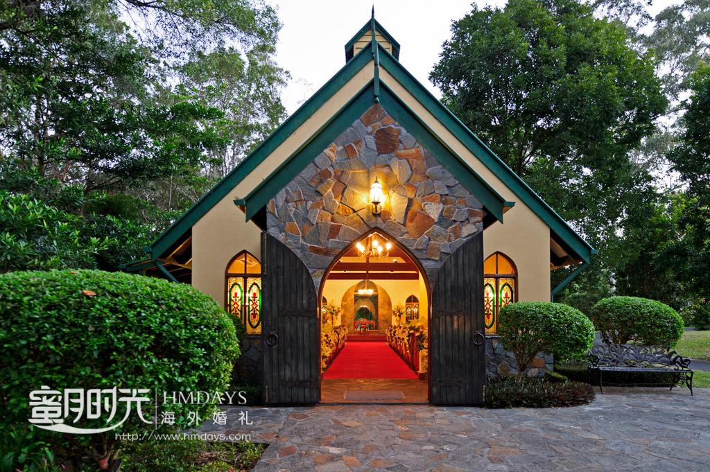 庄园教堂大门正面 澳洲庄园教堂婚礼