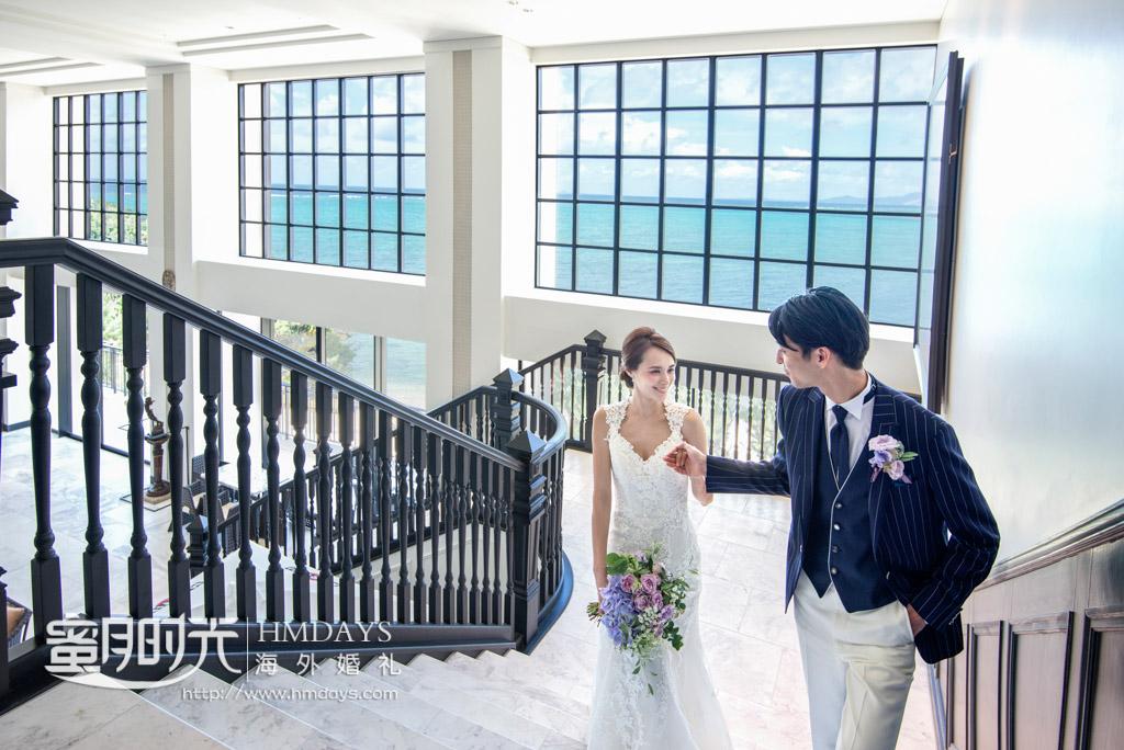 酒店一角摆拍 冲绳露梅尔(海之光)教堂婚礼