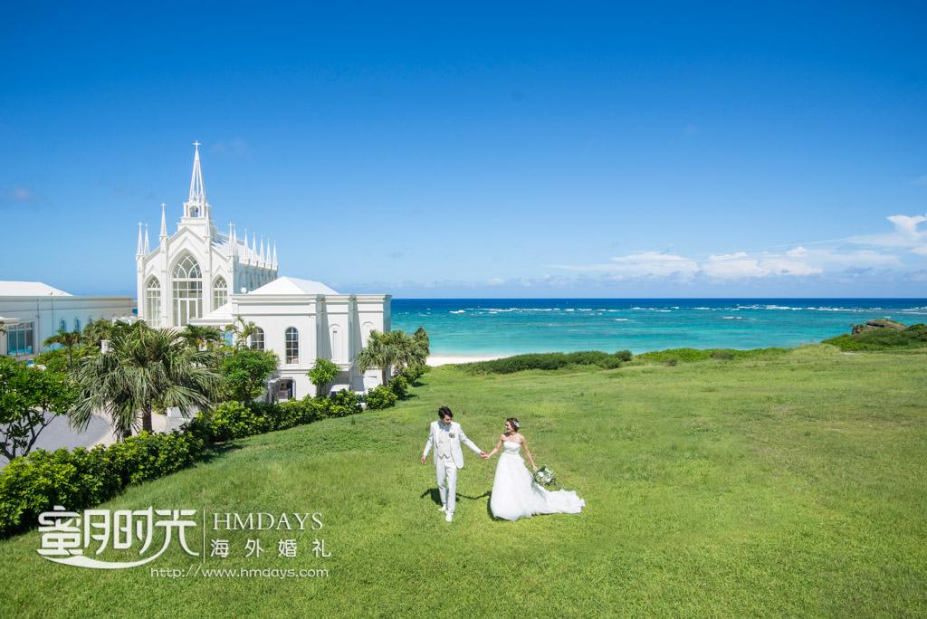 航拍酒店内外景拍摄 冲绳拉索尔(海之翼)教堂婚礼