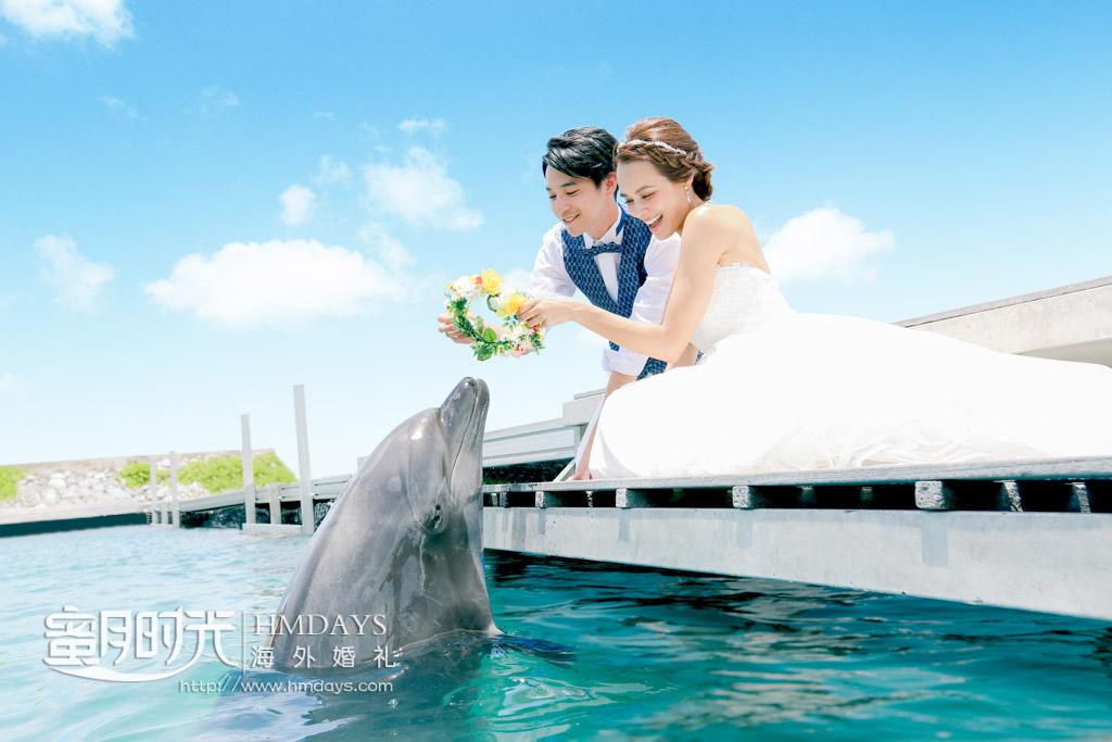 在海滩酒店可以逗海豚 冲绳丽贝拉(海之心)教堂婚礼