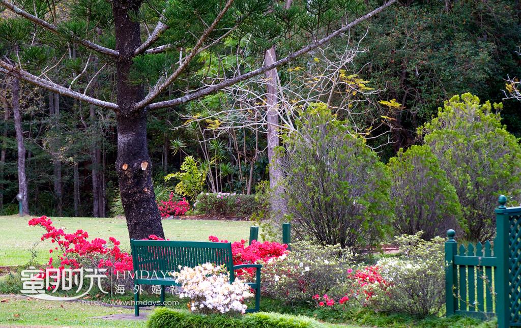 草坪周边种植着各色鲜花 澳洲婚礼庄园内景