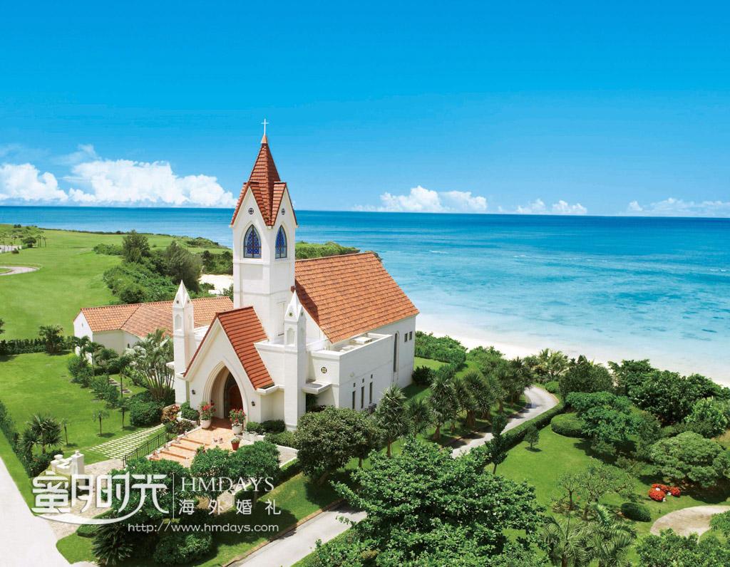 圣洁的欧式教堂坐落在位置极佳的酒店海边 冲绳星耀(海之耀)教堂婚礼