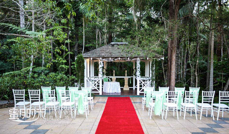 凉亭婚礼全景正面 澳洲庄园森林婚礼