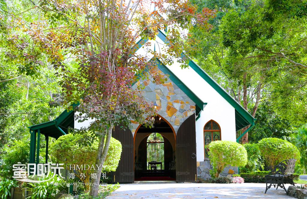 婚礼堂正面入口处 澳洲庄园教堂婚礼