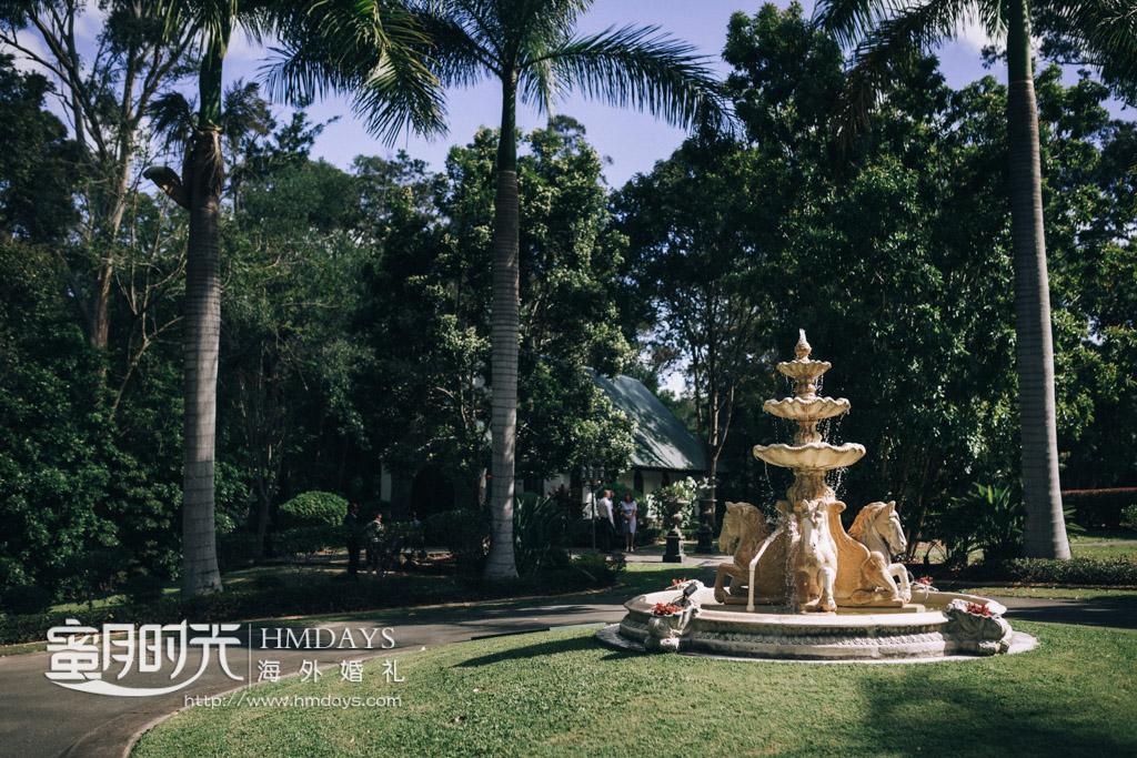 庄园喷水池 澳洲庄园教堂婚礼
