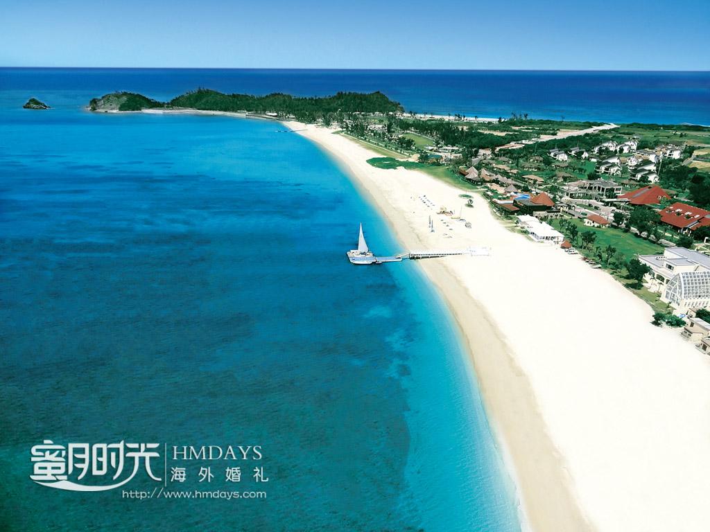 okuma酒店所在长长的海岸线 冲绳飞亚(海之空)教堂婚礼