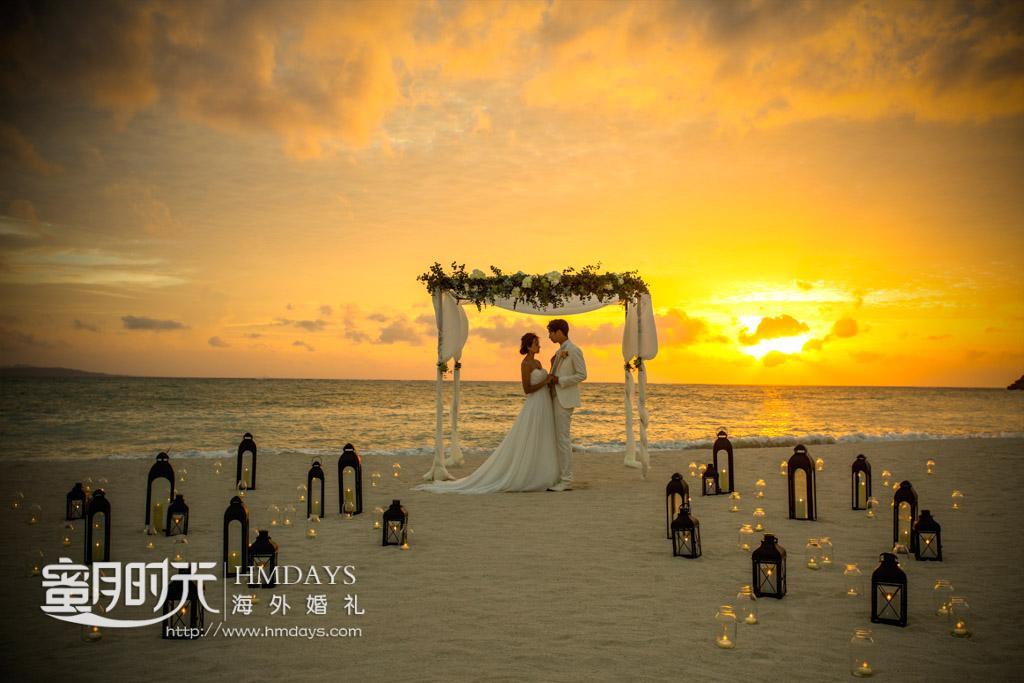 黄昏下的okuma酒店沙滩上取景 冲绳飞亚(海之空)教堂婚礼