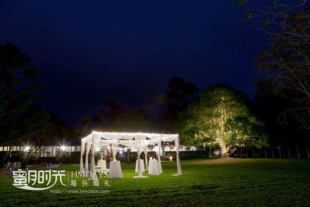 草坪迎宾台展示,远处是精心装扮过后的大树 摄影师客片效果展示