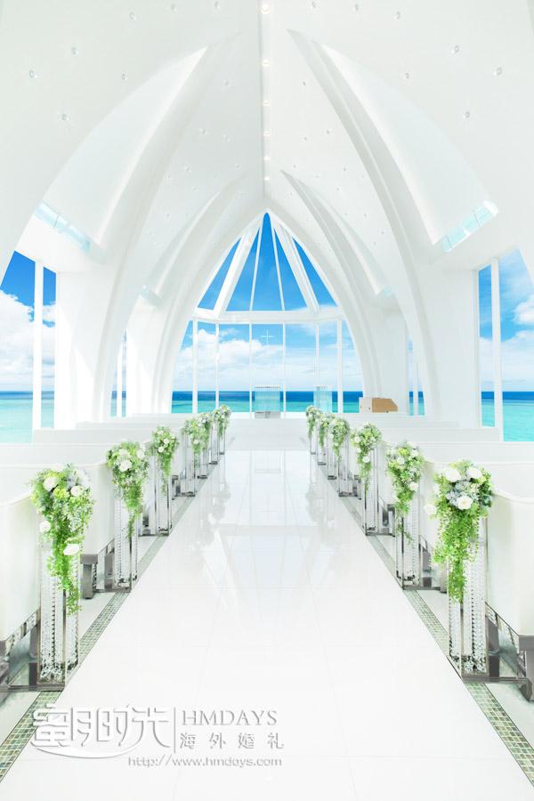 lumer教堂内景 冲绳露梅尔(海之光)教堂婚礼