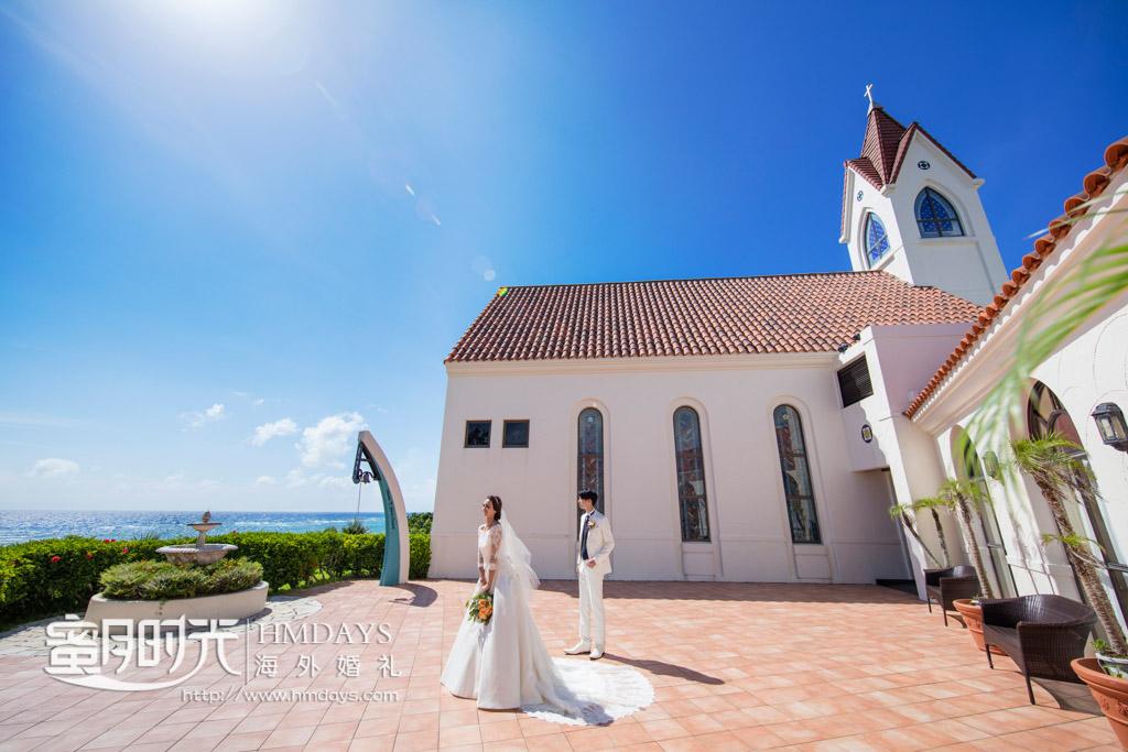 教堂内部仪式结束之后的外景圣钟敲响仪式 冲绳星耀(海之耀)教堂婚礼