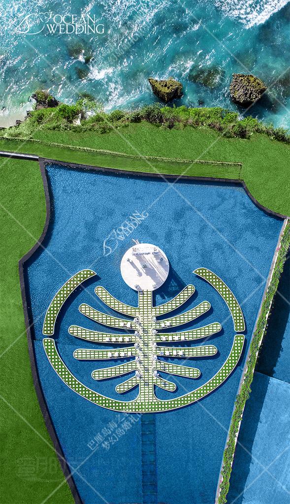 巴厘岛梦幻岛婚礼_蓝白标准布置_航拍 巴厘岛 梦幻岛 免费布置 蓝白