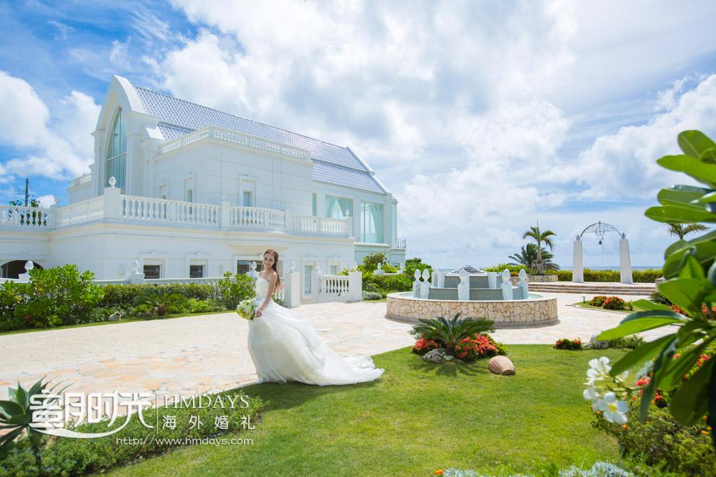 lumer教堂侧面取景拍摄 冲绳露梅尔(海之光)教堂婚礼