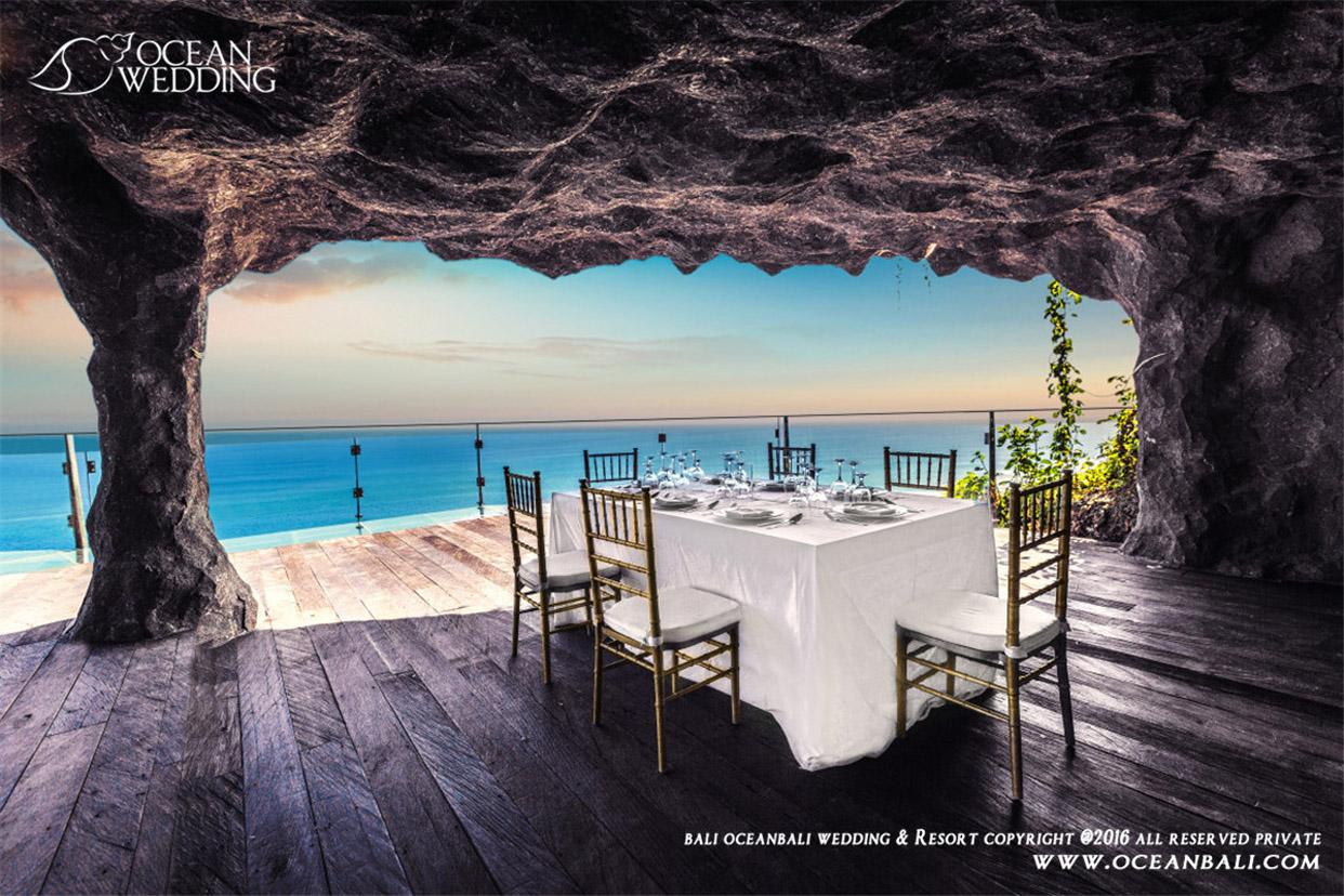 巴厘岛 海之教堂婚礼 岩石餐厅晚宴