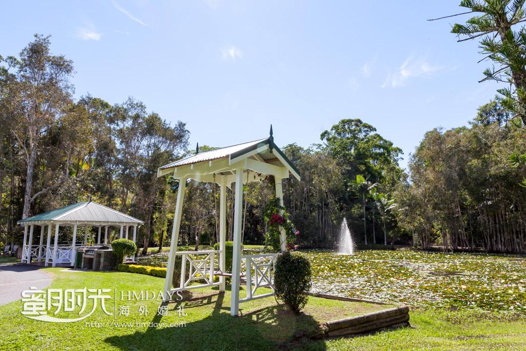 荷塘凉亭特写 澳洲婚礼庄园内景