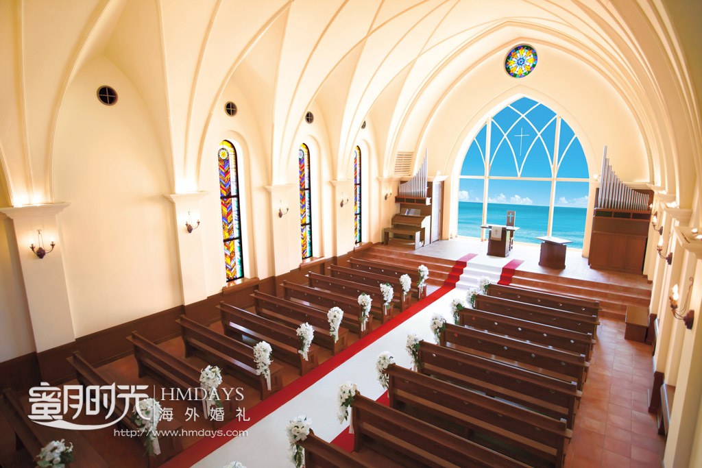 教堂内景45度斜拍 冲绳星耀(海之耀)教堂婚礼