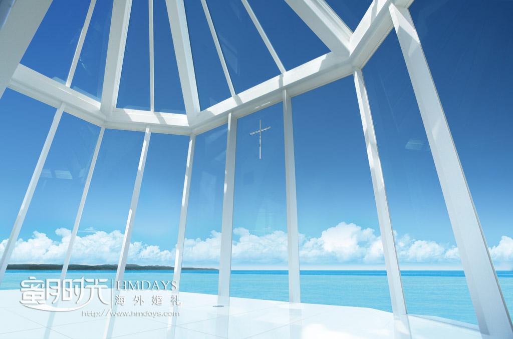 通透的lumer教堂落地玻璃 冲绳露梅尔(海之光)教堂婚礼