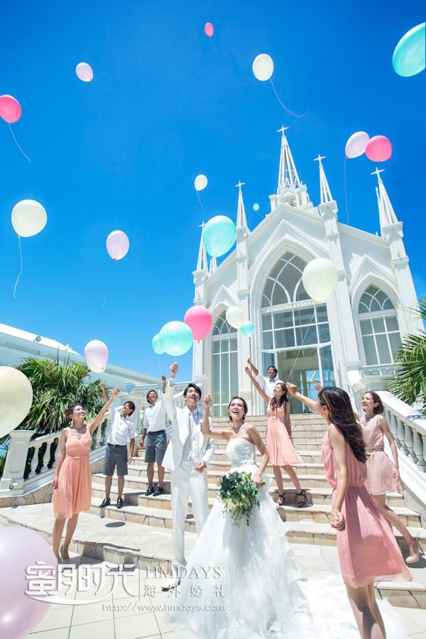 冲绳lazor教堂的放气球仪式环节 冲绳拉索尔(海之翼)教堂婚礼