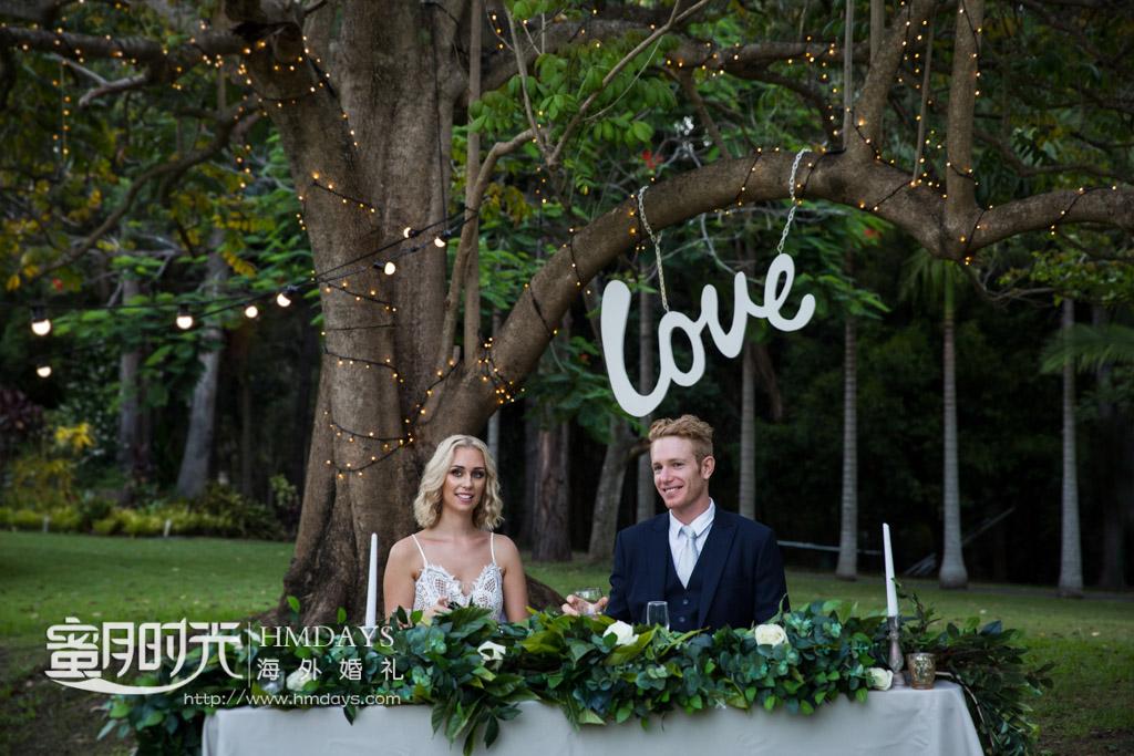 love树下的新人座位 澳洲庄园婚礼晚宴