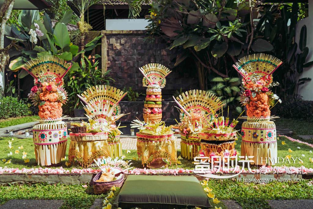 巴厘岛传统大婚婚礼婚纱照片|现场传统巴厘岛婚礼大婚礼布置|海外婚礼