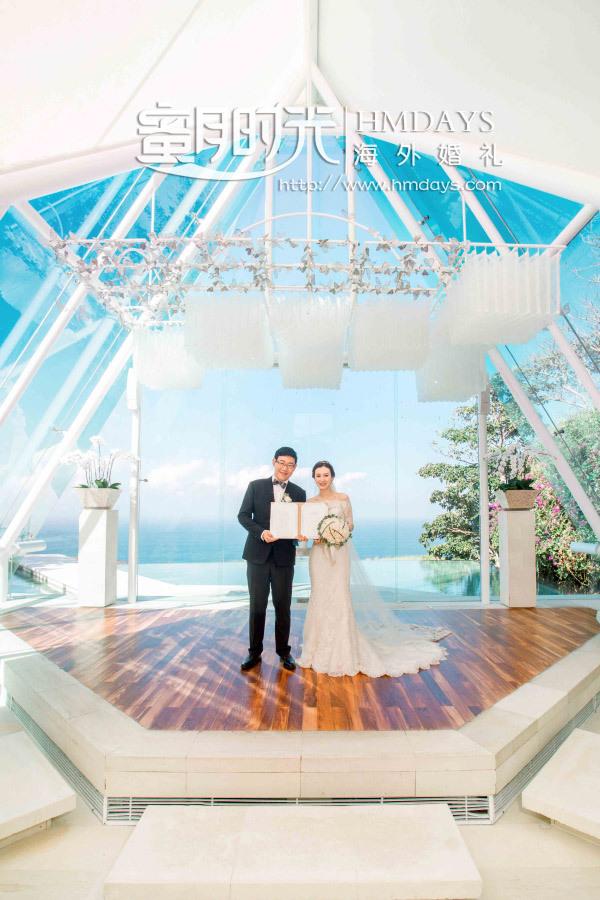 水之教堂婚礼+次日全天外景|巴厘岛水之教堂婚礼证书合影|海外婚礼