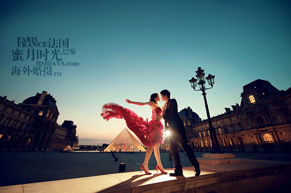 法国巴黎市区一日拍摄|卢浮宫婚纱照片HMDAYS|海外婚礼