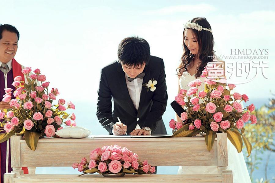 巴厘岛蓝点教堂婚礼婚纱照|签字仪式中|海外婚礼