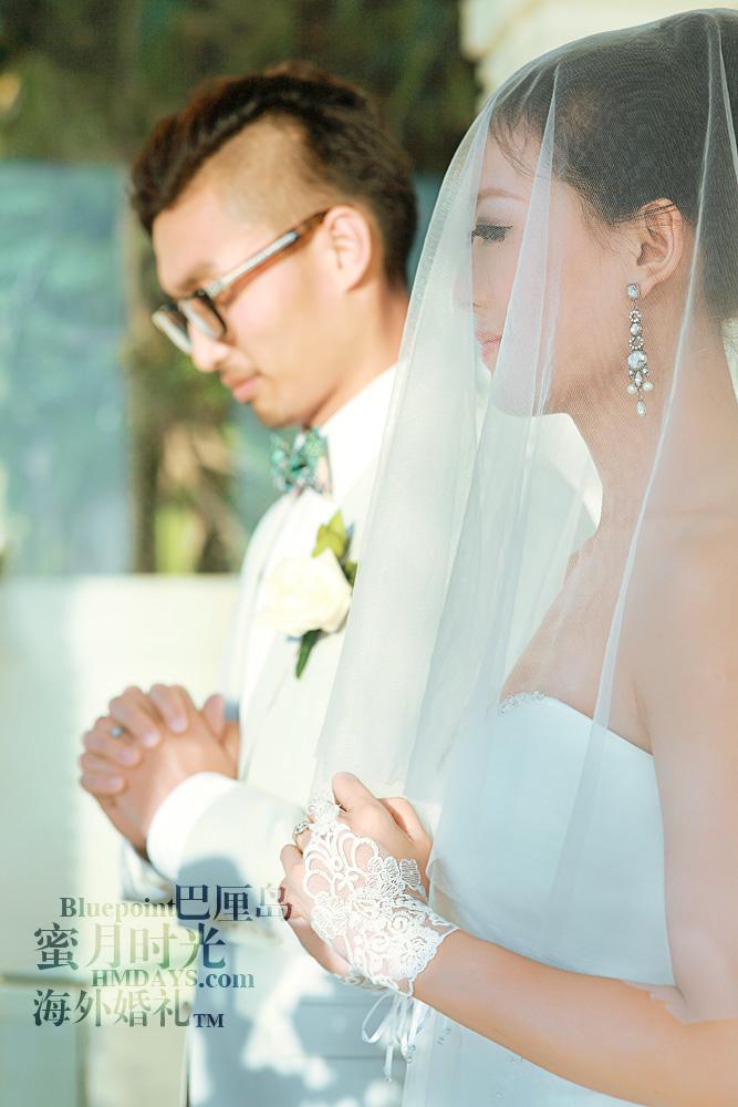 巴厘岛蓝点教堂婚礼--17:30档|新郎新娘宣誓中|海外婚礼