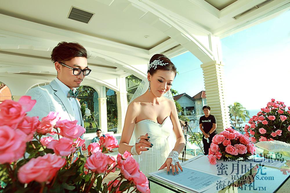 巴厘岛蓝点教堂婚礼--17:30档|签字仪式,在证书上|海外婚礼