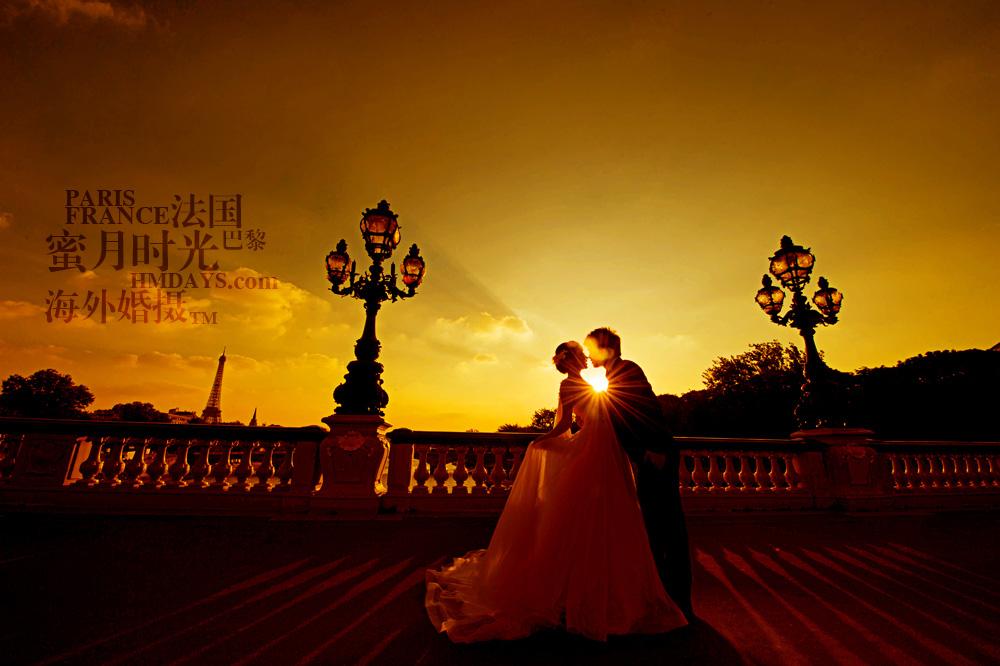 法国巴黎市区一日拍摄|巴黎婚纱摄影之夕阳|海外婚礼