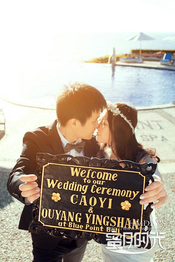 巴厘岛蓝点教堂婚礼婚纱照|无边泳池前KISS|海外婚礼