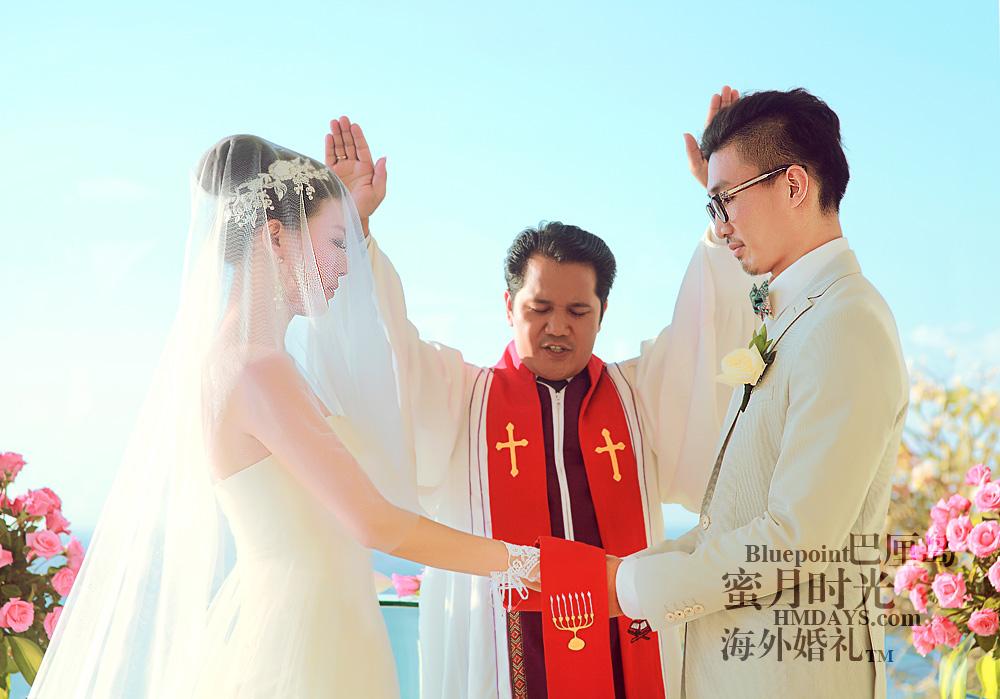 巴厘岛蓝点教堂婚礼--17:30档|牧师祷告|海外婚礼