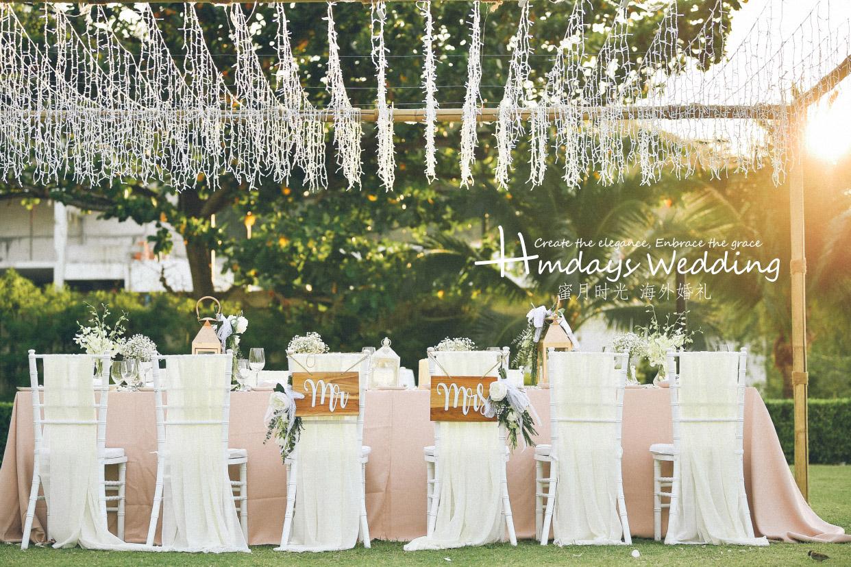 普吉岛卡马拉婚礼+定制布置+晚宴|美美的晚宴布置_还贴心的赠送了仙女灯的布置|海外婚礼