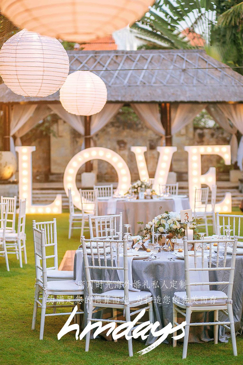 巴厘岛LOVE灯港丽婚礼晚宴|海外婚礼晚宴布置定制|海外婚礼定制中高端布置案例|巴厘岛婚礼布置定制案例