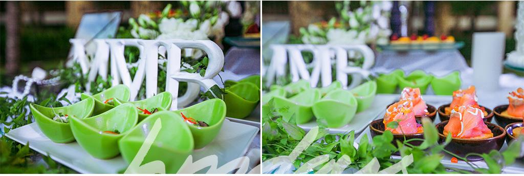 巴厘岛婚礼晚宴中的绿色小吃台布置 海外婚礼布置定制案例
