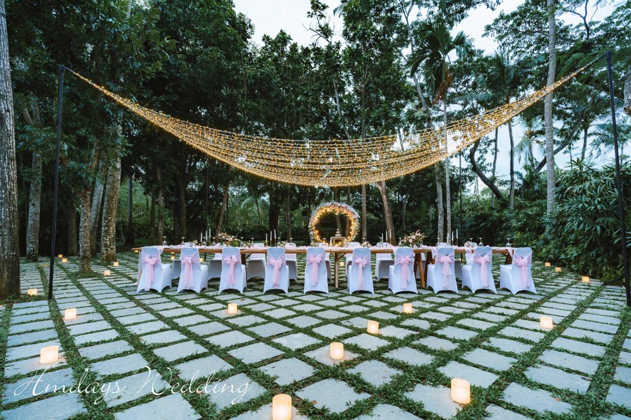 海外婚礼晚宴 巴厘岛婚礼宴会 巴厘岛肉桂花园晚宴2019peach色标准布置