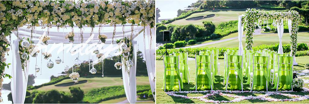 海神庙绿色婚礼布置 海外婚礼布置案例 海外婚礼定制中高端布置案例 巴厘岛婚礼布置定制案例