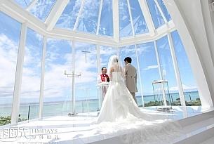 露梅尔冲绳西式白色教堂婚礼婚纱照_海外婚礼